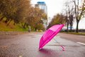 Pink children s umbrella on the wet asphalt outdoors see my other works in portfolio Royalty Free Stock Photos