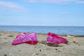 Pink children shoe on the beach.Selective focus Royalty Free Stock Photo