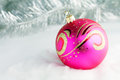 Pink Christmas ball Stock Photo