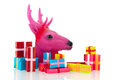 Pink christmas with many presents deer isolated over white background Royalty Free Stock Image