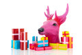 Pink christmas with many presents deer isolated over white background Royalty Free Stock Photography
