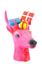 Pink christmas reindeer with presents colorful isolated over white background Royalty Free Stock Photography