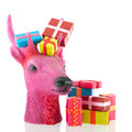Pink christmas reindeer with presents colorful isolated over white background Royalty Free Stock Images