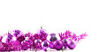 Pink Christmas tree balls and decorations isolated Royalty Free Stock Photo