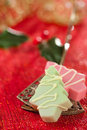 Pink christmas tree homemade sweets  in festive golden red style Royalty Free Stock Photo