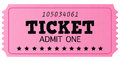 Pink cinema retro admit one ticket Stock Image
