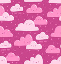 Pink clouds pattern i love you seamless vector illustration Stock Photography