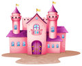 A pink colored castle illustration of Royalty Free Stock Images