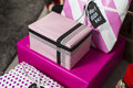Pink colorful present wrap paper boxes close up Royalty Free Stock Photo