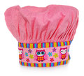 Pink cooking hat, with multi-colored pattern, hearts, flowers and owls. The pattern on the cap in the colors yellow, orange, red, Royalty Free Stock Photo