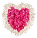 Pink and cream rose petal heart Stock Image