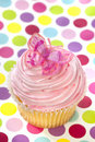 Pink Cupcake with Butterfly Stock Image