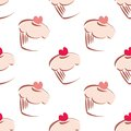 Pink cupcake tile background seamless white pattern or with big cupcakes silhouettes muffin sweet cake and red heart on top Stock Photo
