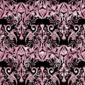 Pink damask vector seamless pattern. Vector floral black backgro Royalty Free Stock Photo