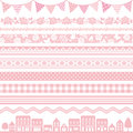 Pink decoration set of banner texture Stock Photo