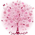 Pink decorative spring tree Royalty Free Stock Images