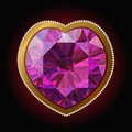 Pink diamond heart in a gold frame Royalty Free Stock Photo