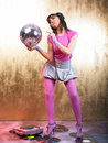 Pink Disco Girl Stock Image