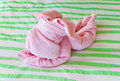 Pink dog shaped towel on bed Royalty Free Stock Images