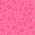 Pink doodle hearts vector seamless pattern this is file of eps format Stock Image