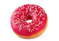 Pink doughnut in glazed isolated on white Royalty Free Stock Images