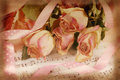 Pink dried roses on old note paper in vintage style Royalty Free Stock Photo