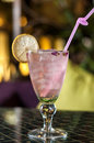 Pink drink with lemon Royalty Free Stock Photo