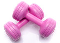 Pink dumbells isolated on white Stock Photo