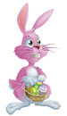 Pink easter bunny with eggs a rabbit a basket of Stock Image