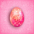 Pink Easter egg with floral patterns Royalty Free Stock Photo
