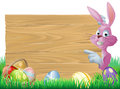 Pink easter eggs sign easter bunny a cartoon rabbit peeping round a in green spring field full of chocolate decorated Stock Photography