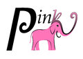 Pink elephant logo with black decorative inscription Stock Images