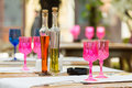 Pink empty glasses on restaurant table Royalty Free Stock Photography