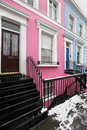 Pink facade house in residential district in london Stock Images