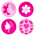 Pink female vector badges or icons Stock Photo
