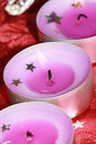 Pink festive candles Royalty Free Stock Image