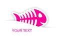 Pink fish bone sticker notification with light shadow effect Stock Image