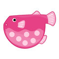 Pink fish cute cartoon isolated illustration on white background Royalty Free Stock Photo
