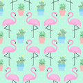 Pink flamingo with cactus