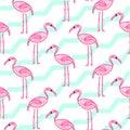 Pink flamingo on chevron blue and white pattern.