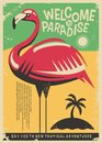 Pink flamingo retro poster design