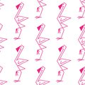 Pink flamingo seamless pattern cute line drawing of a background with a repeat motif in square format suitable for textile or Royalty Free Stock Images