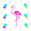 Pink flamingo vector illustration with ice cream