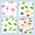 Pink flamingos, jungle leaves and tropical flowers seamless patterns set