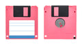 Pink floppy disk front and back of a isolated on white background Stock Photography