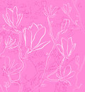 Pink floral background with outlined flowers Stock Photo