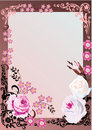 Pink floral frame with roses Royalty Free Stock Images