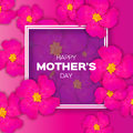 Pink Floral Greeting card - Happy Mothers Day - with Bunch of Spring Fower holiday background.