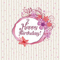 Pink floral happy birthday card Royalty Free Stock Photo