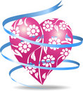 Pink floral heart Royalty Free Stock Photos